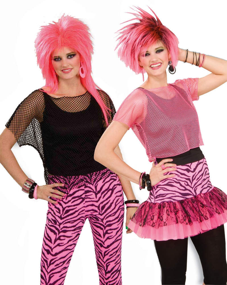9444e9fa68 Adult 80's Neon Pink or Black Mesh Top - 1980s Costumes - 80's ...