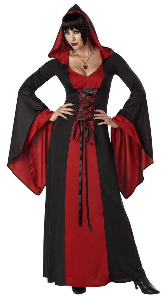 Adult Black/Red Hooded Robe Costume - Candy Apple Costumes - Gothic ...