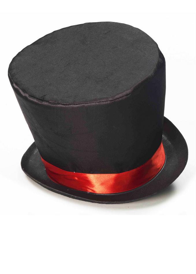 Adult Black Red Mad Hatter Hat Victorian Costumes Pop Culture
