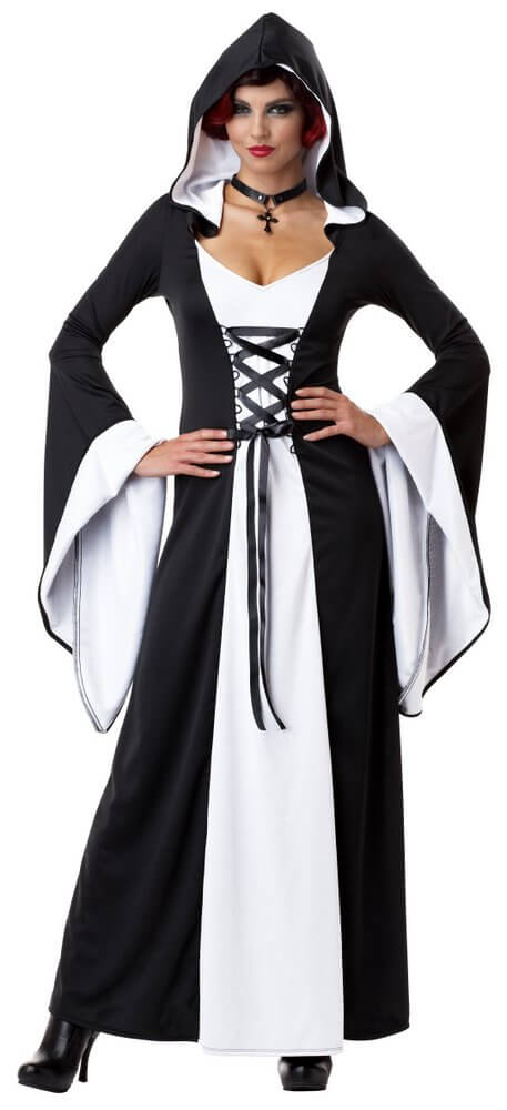 Gothic Witch Demon Deluxe Hooded Robe Adult Women Costume