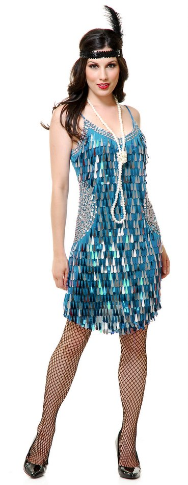 Mirror Sequin Flapper Dress Blue Flame Silver Adult
