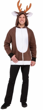 Adult Brown/White Reindeer Hoodie Costume