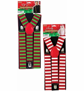 Elf Red Green Striped Suspenders Candy Stripe Santa Costume Accessory Christmas
