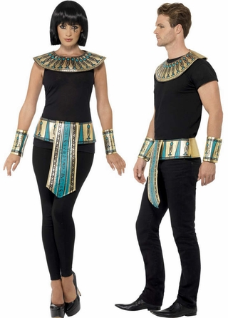 Adult Egyptian Collar, Cuffs,  Belt Costume Kit