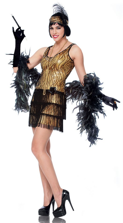 adult goldblack broadway flapper costume