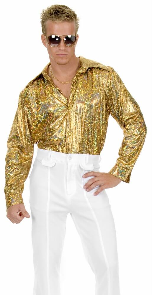 Plus Size Gold Holographic Disco Shirt - 60's Costumes