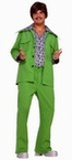 Adult Green 70's Leisure Suit Costume With Attached Shirt, Size M/L