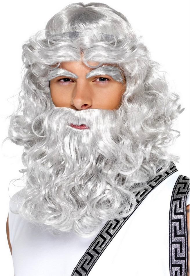 Adult Grey Zeus Wig and Beard - Greek God Costumes - Greek ...
