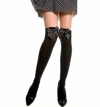 One Size Fits Most Womens Black And White Dot Thigh High Stockings