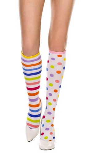 b54fa0840 Adult Rainbow Striped and Polka Dot Knee High Socks - Candy Apple ...