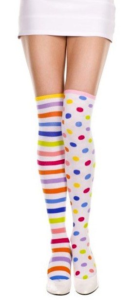 4daa7a193 Adult Rainbow Striped and Polka Dot Thigh High Socks - Candy Apple ...