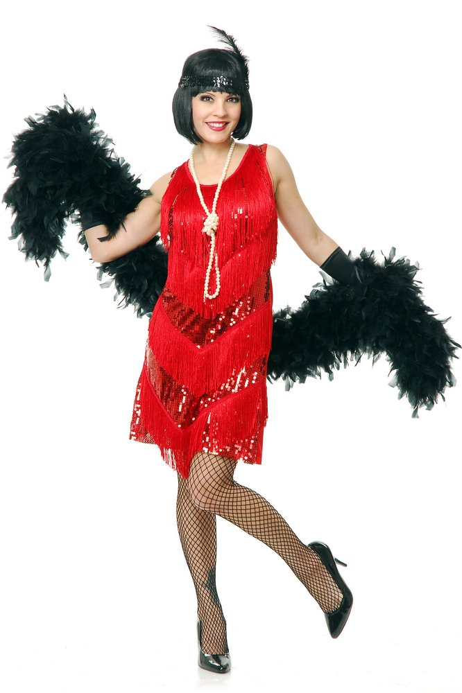 Adult Red Four-Tiered Flapper Costume