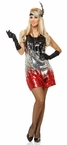 Adult Red, Silver and Black Sequin Dress Costume, Size Small