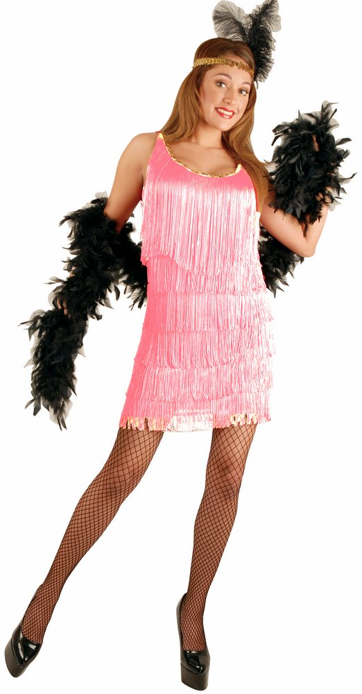 Plus-Size Rose Pink Adult Flapper Costume