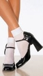 Adult White Satin Cuff Ankle Socks