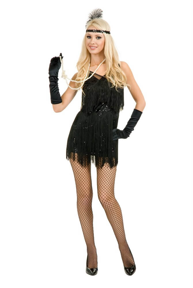 Adult Sexy Chicago Fringed Flapper Costume - Black or White  sc 1 st  Candy Apple Costumes : velma kelly costume  - Germanpascual.Com