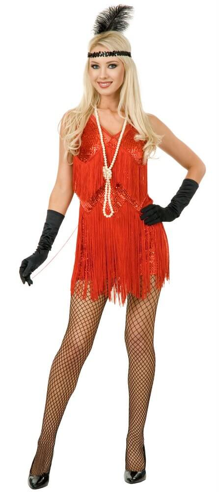 efe6fe852a5 Adult Sexy Chicago Red Fringed Flapper Costume