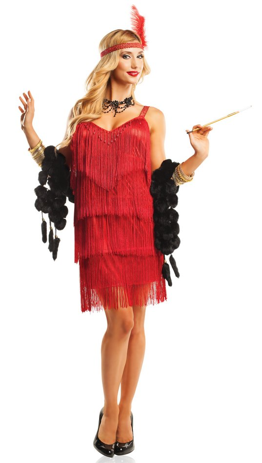 Red Hollywood Adult Flapper Costume - CandyAppleCostumes.com