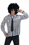 Adult Silver Stardust Sequin Disco Shirt