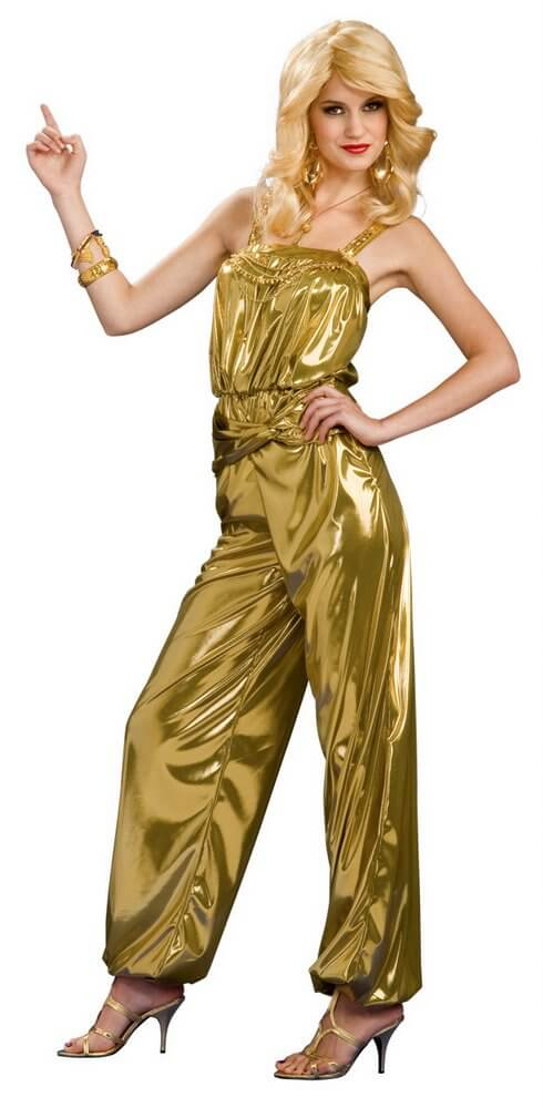 aa9aec51479 Adult Solid Gold Diva Disco Jumpsuit Costume - Candy Apple ...