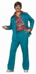 Adult Teal 70's Leisure Suit Costume With Attached Shirt, Size M/L
