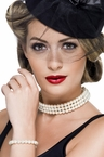 Adult Vintage Faux Pearl Choker and Bracelet Set