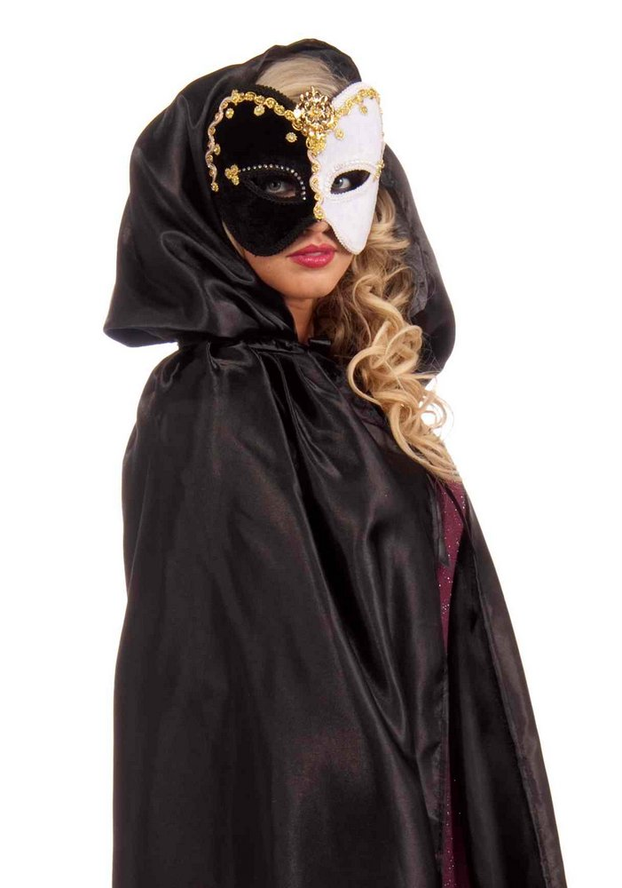 black fancy masquerade hooded cape  candy apple costumes
