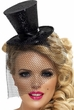 Black Glitter Mini Top Hat on Headband