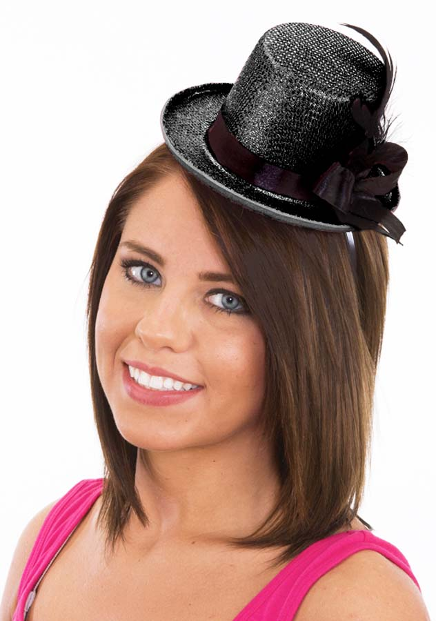 529218f6639 Black Glitter Mini Top Hat With Feathers - Steampunk Costumes