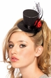 Black Glitter Mini Victorian Top Hat