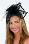 Black Mini Hat Headband With Feathers
