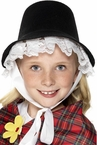 Black Puritan Bonnet With Lace Trim