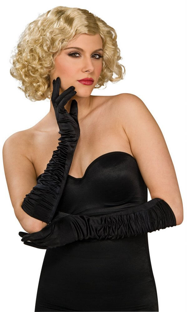 Black Ruched Satin Gloves Elbow Length Costume