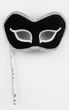 Black/Silver Venetian Mask With Stick