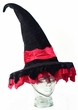 Black Velvet Witch Hat With Red Trim