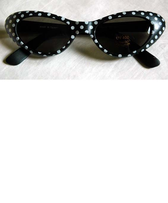 b05be9d05a3 Black White Polka Dot Cat Eye Sunglasses - Candy Apple Costumes - Poodle  Skirts