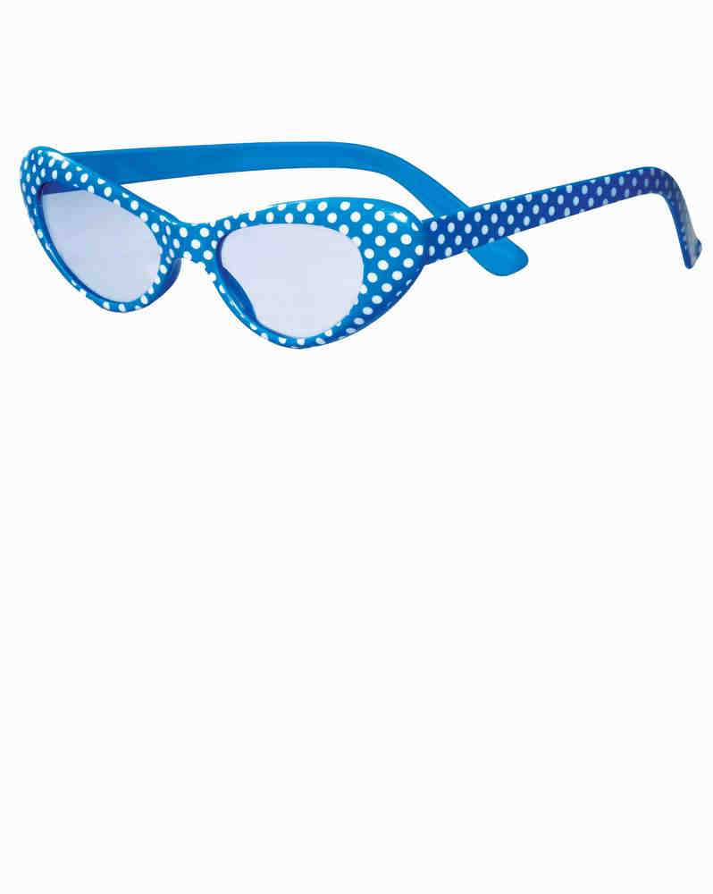 45f1e7a5924 Blue White Polka Dot 50 s Cat Eye Glasses - Candy Apple Costumes ...