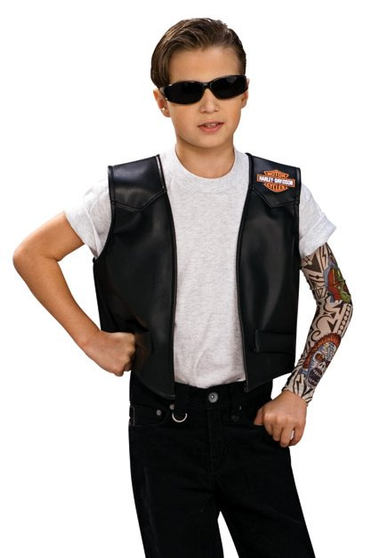 Childu0027s Black Harley Davidson Vest Biker Costume  sc 1 st  Candy Apple Costumes : vest costumes  - Germanpascual.Com