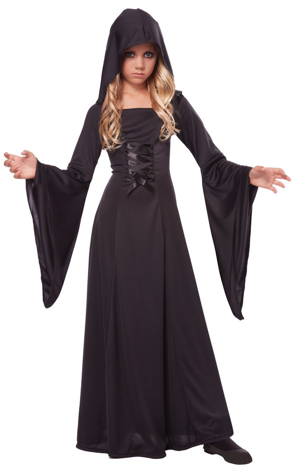 Childu0027s Black Hooded Robe Costume  sc 1 st  Candy Apple Costumes & Childu0027s Black Hooded Robe Costume - Candy Apple Costumes - Grim ...
