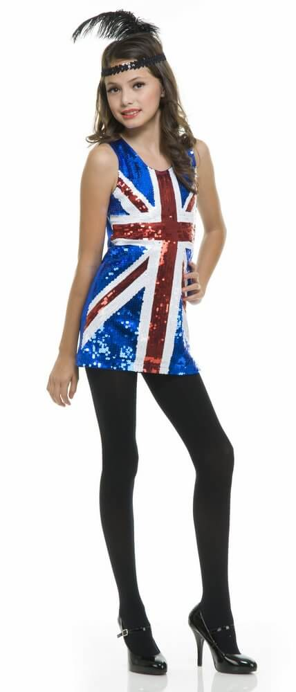 Childs British Flag 60s Sequin Dress Costume Candy Apple