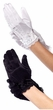 Child's Satin Wrist Length Gloves With Lace Trim - Black or White