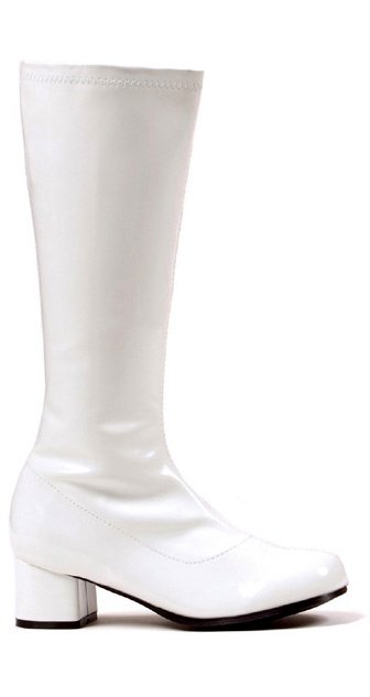 child size white knee high go go boots apple