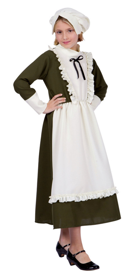 Childs Colonial Peasant Girl Costume Historical Costumes Black
