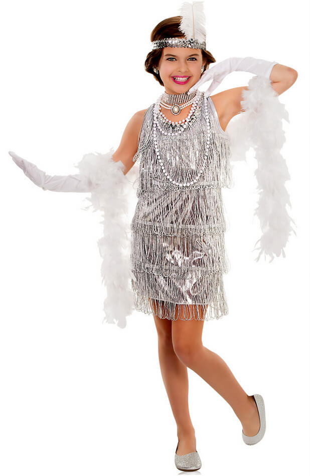 child's silver dazzling flapper dress costume  candy