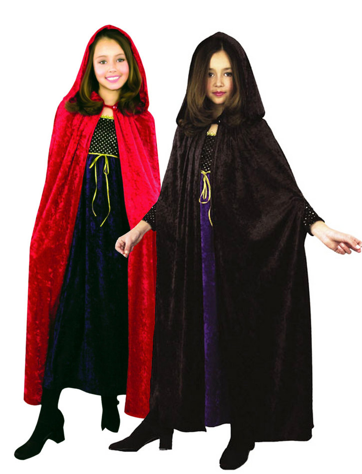 9b4a45a7ad Child s Velvet Hooded Cloak - Red or Black - Fairy Tale Costumes ...