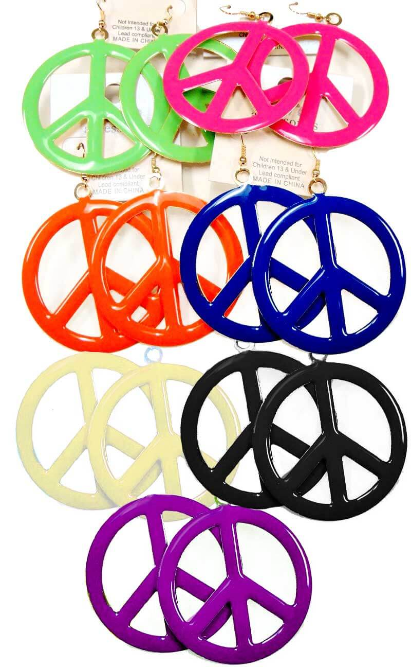 Colorful Peace Sign Earrings Candy Apple Costumes 70s Costumes