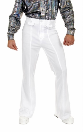 Deluxe Adult White Bell Bottom Disco Pants