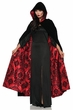 Deluxe Black/Red Damask Flocked Velvet Hooded Cape