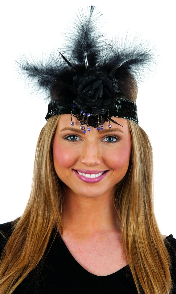 Deluxe Black Sequin Headband with Rose and Feathers 2b620d554e9