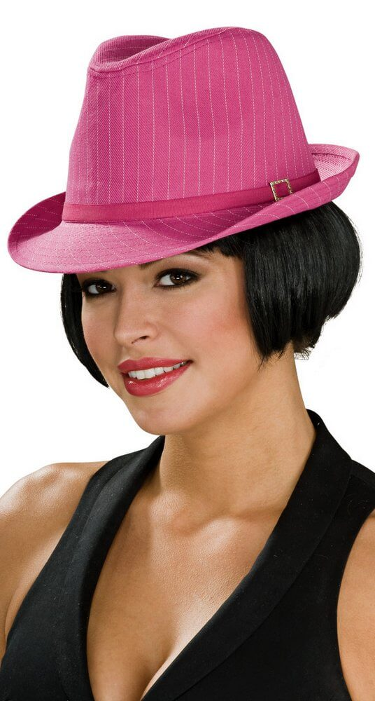 259461ae947 Deluxe Pink Pinstripe Fedora - Candy Apple Costumes